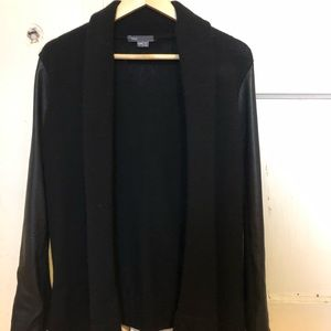 Vince wool and leather cardigan
